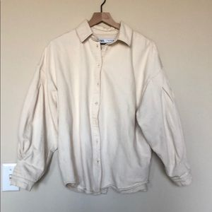 Zara open back cotton shirt jacket